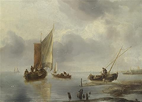 The Polyster Canvas Of Oil Painting 'Jan Van De Cappelle A Small Vessel In Light Airs And Another Ashore ' ,size: 8 X 11 Inch / 20 X 28 Cm ,this High Quality Art Decorative Canvas Prints Is Fit For Bathroom Decoration And Home Artwork And (Bunny Air Dancer)
