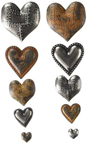 Prima Marketing 963361 Tin Hearts Finnabair Mechanicals Metal Embellishments (10/Pack), - Embellishment Tin