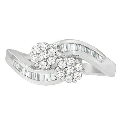 14K White Gold Diamond Cluster Bypass Ring (1/2 cttw, I-J Color, I2-I3 (Diamond Cluster Cocktail Ring)