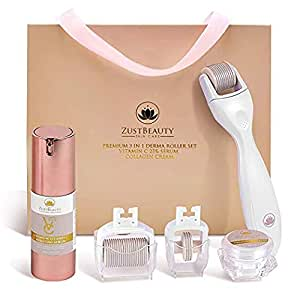 Derma Roller Kit 0.3MM for Face & Body Skin Care All-In-One Facial Roller with Vitamin C 25% Hyaluronic Serum, Collagen Cream, 180, 600 & 1200 Micro-Needle Replacement Heads & Manual Set