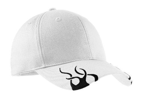 Cap Racing Baseball Hat (Port Authority Men's Racing Cap with Flames OSFA White/Black)