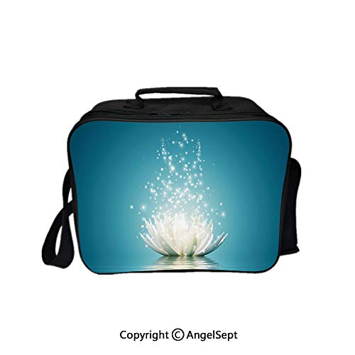 (Hot Sale Lunch Container,Magic with Bright Reflections Zen Life Spiritual Meditation Print Decorative Petrol Blue Coconut 8.3inch,Lunch Bag Large Cooler Tote Bag For Men, Women)