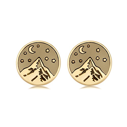 SENFAI Mountain Top Star Moon Night Earrings for Climbing Hiking Sports Lover (Gold) by SENFAI
