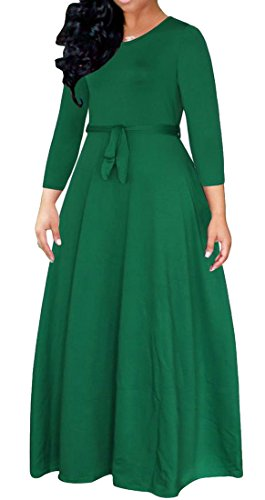 Big Swing Women's Tang Maxi Green Long Elegant Solid Sleeve Dress Belted ppOx0wqF