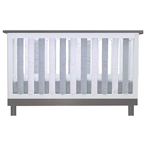 Pure Safety Vertical Crib Liners in Grey/White Cotton 24 - Slate Vertical