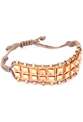 Shashi Rose Gold-Plated with Nude Cord Rocker Stud Bracelet
