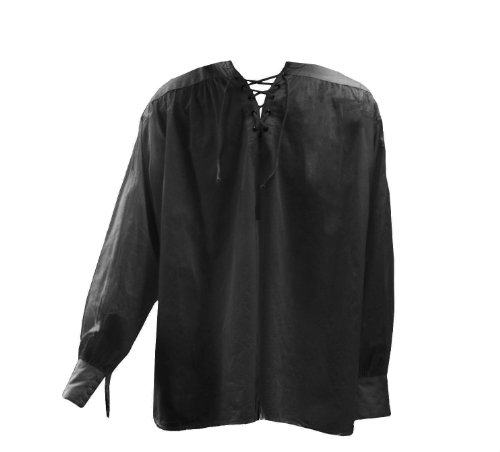 Men's Gothic New Romantic Larp Poet Lace Up Wide Cuff Shirt Black (Elizabethan Men's Clothing)