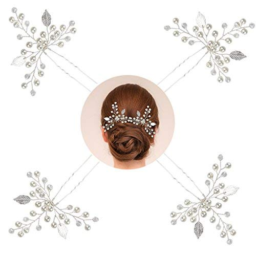 - Exacoo 4 Pack Bridal Silver Hair Pins Wedding Leaf Hair Pin for Women and Girls Pearl Sparkle Crystal for Hair Decoration