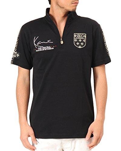カールカナイゴルフ KARL KANI GOLF 半袖シャツ?ポロシャツ 吸水速乾ラインハーフジップ半袖シャツ ブラック M
