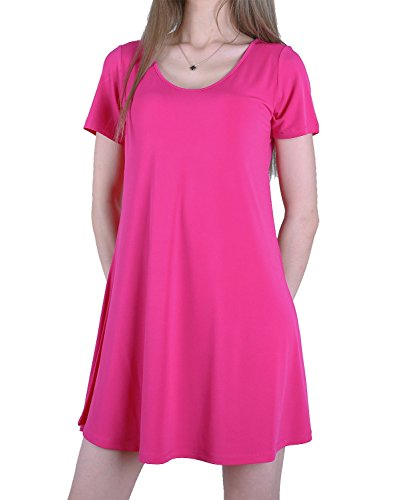Favelem Womens Short Sleeve Loose Flowy Tunic T shirt Dresses(L,Hot Pink)205-4 (Free Womens Pink T-shirt)