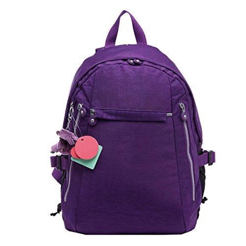 Los Estudiantes De La Escuela Secundaria De Yy.f Empaquetan La Mochila Del Recorrido Bolso Del Ocio Bolso De Hombro Auténtico Externo De Moda Interior Práctico Paquete Puro Del Color Multi-color Purple