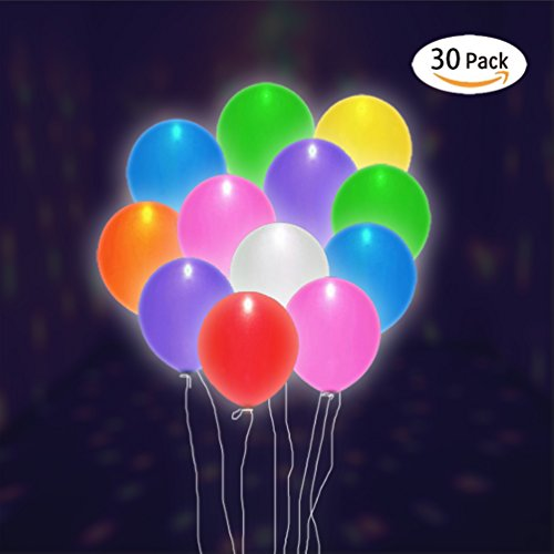 30 PACK LED Light Up Balloons- Flashing Light Balloons, Mixed Color, for Valentine's Day, Parties, Birthday, Wedding Party, Christmas, Lasts 8-24 Hours by LUCKGOLD - Happy Hour Invite