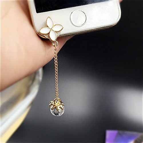 Special Cute Korean Style Cell Phone Charms Dust Plug- Earphone Jack Accessories Crystal Lovely Little Flower/ Cellphone Charms / Ear Jack Stopper for iphone 5 5s/ Iphone 6/ Iphone 6 Plus (Cellphone Earphone Jack Accessory compare prices)