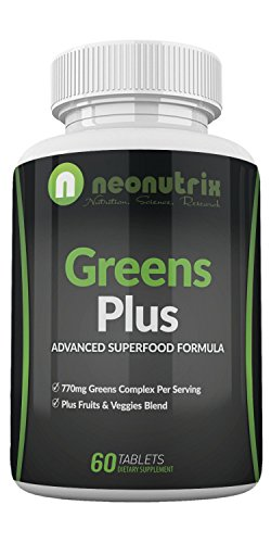 Supplement Plus Fruit - Organic Greens Plus Super Foods Supplements -Fruit and Vegetable Supplement- Superfood and Greens Supplements- Non-GMO 60 Supergreen Tablets by Neonutrix- Made in USA