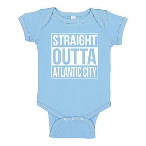 Baby Romper Straight Outta Atlantic City Light Blue for 12 Months Infant Bodysuit