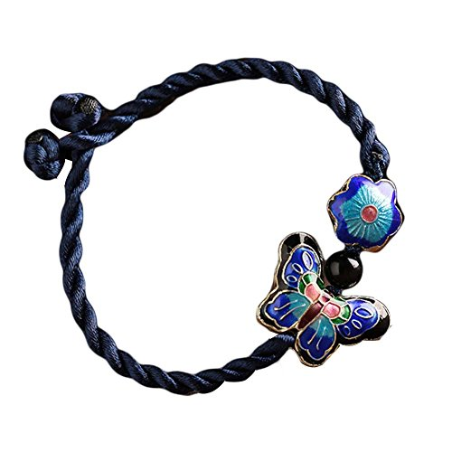 (Cloisonné Pattern Hand Made Woven Bracelet Butterfly Flower Bracelets 15 CM)