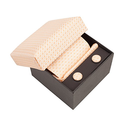 BTIE-025 Luxury Gift Box- Silk Tie, Handkerchief, Cufflinks- Peach by Vivente Vivo