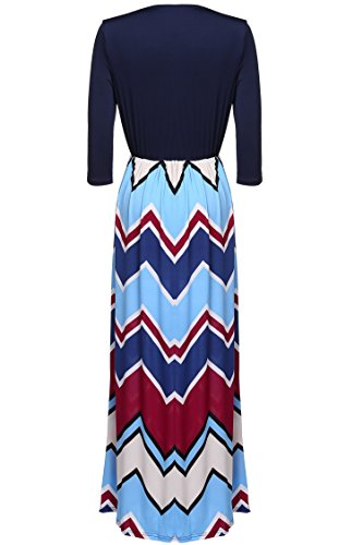 Navy Blue ANGVNS Maxi 3 4 Striped Womens Sleeve Color Fashion Chevron Casual Contrast Dress ORO7xZq