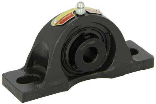 "Sealmaster NPL-10 Pillow Block Ball Bearing, Non-Expansion Type, Normal-Duty, Regreasable, Setscrew Locking Collar, Felt Seals, Cast Iron Housing, 5/8"" Bore, 1-1/16"" Base to Center Height, 3-3/4"" Bolt Hole Spacing Width"