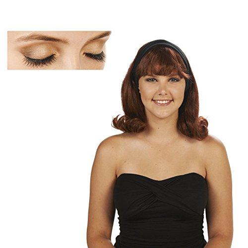Brown 50's Flip Adult Wig and Eyelashes Bundle Set (50s Makeup And Hair)