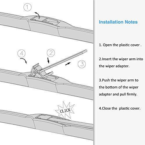 BUYLONG Hybrid Wiper Blades Universal Type Windshield Wiper, Applicable Rain & Freezing Weather Wiper