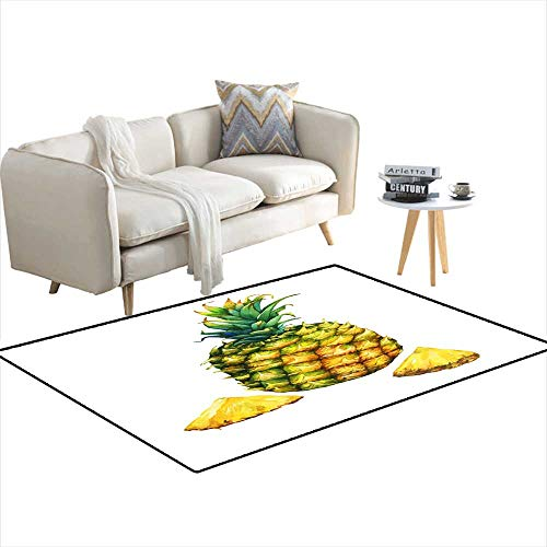 (Area Rugs for Bedroom Ripe Pineapple wi Green Leaves Watercolor Handrawn Painting Illustration isolateon White backgrounFor Invitations gree 3'x12')
