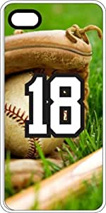 Baseball Sports Fan Player Number 18 White Rubber Decorative iPhone 4/4s Case