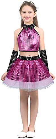 QinCiao Kids Girls Sequins Ruffled Sleeves Tee Shirt Peplum Crop Tops Modern Dance wear Mermaid Birthday Dress up