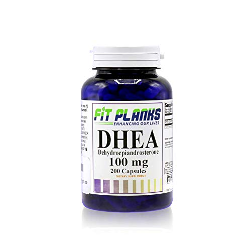 FitPlanks Pure DHEA 100mg Supplement, 200 Count - Balance Hormone Levels & Weight Loss - Energy Booster & Healthy Aging for Men & Women - All Natural Bodybuilding Aid - Made in USA