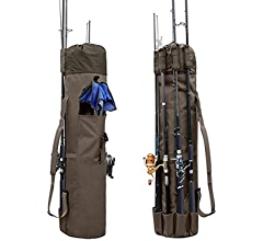 Toasis Fly Fishing Rod Carrier Case Fishing Pole Carrying Bag for Travel Khaki Color