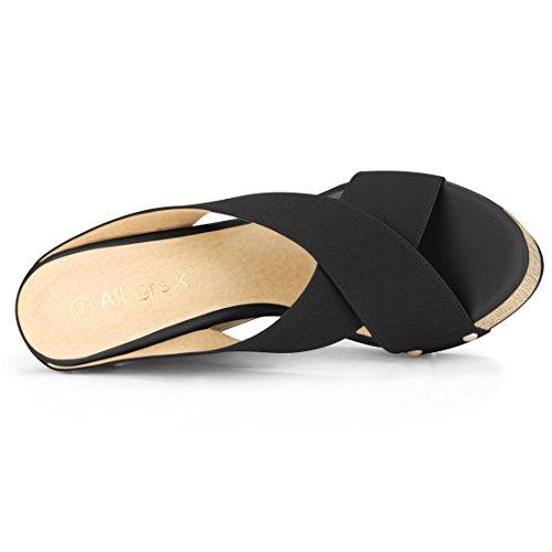 Women K Sandals Black Platform Allegra Slide Wedge q5zwy7ZCCg
