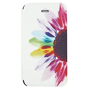 TOPAA Half Colorful Painting Sunflower Pattern PU Leather Full Body Case for iPhone 4/4S