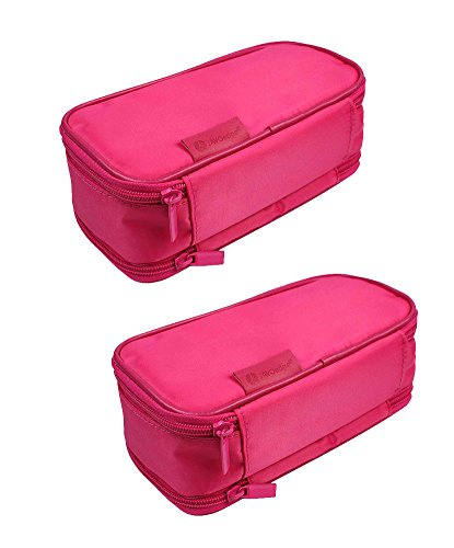 JAVOedge [2 Pack], JE Multi-Function Jewelry Travel Storage Case for Earring, Necklaces, Ring and Makeup Cosmetic Case [Magenta] by JAVOedge