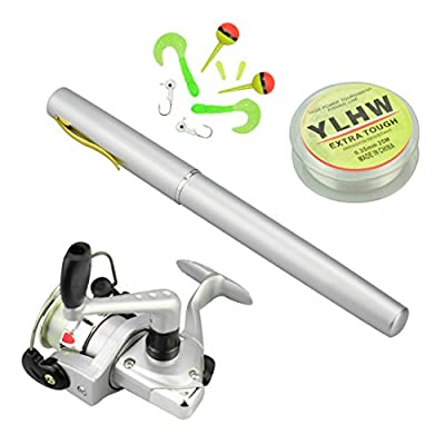 38 inches Pocket Pen Rod Set,Mini Fishing Rod and Reel Combos,Portable Travel Fishing Gear in A Box,Good Gift for Birthday,Festival,Christmas from Multioutools