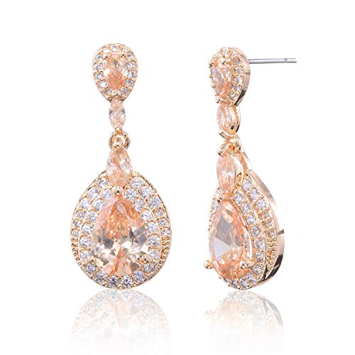 Champagne Earrings for Wedding - 14k Gold Plated Teardrop Earrings Sterling Silver Pear-shaped CZ Cubic Zirconia Crystal Rhinestone Dangle Drop Earrings Bridal Jewelry for Bride Bridesmaids Party Prom