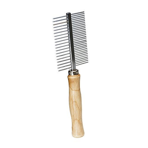 Dog Grooming Tool, Cat Grooming Comb, Devin 8-Inch Stainless Steel Double-Sided Comb with Wooden Handle, By WPS