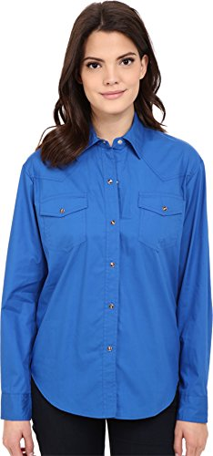 Roper Women's L/S Solid Basic Snap Front, Blue, LG