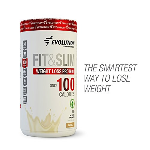 Evolution Advance Nutrition FIT & SLIM PROTEIN + FAT BURNER with only 100 CALORIES per serving. Whey Protein+fiber+Glucomanan+Chromium Picolinate. 2lbs 30 servings. Sweetened with Stevia! (Vanilla) For Sale