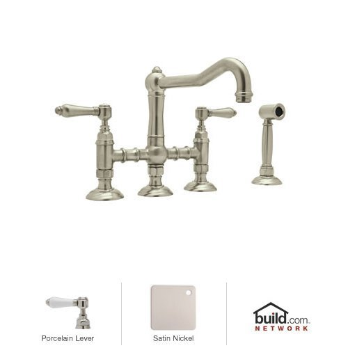 Rohl A1458LPWSSTN-2 Country Kitchen Three Leg Bridge Faucet with Porcelain Levers, Satin ()