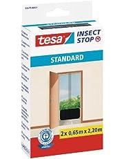 tesa Insect Stop Standard Vliegenhor - Insectenhor voor deuren - Maak van uw deur een hordeur met deze muggenhor - Antraciet, 2 x 65 cm x 220 cm (doorzichtig)
