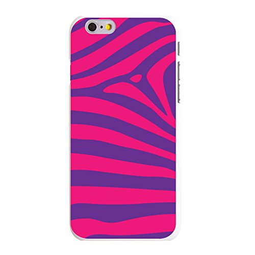 (DistinctInk Case for iPhone 6 Plus / 6S Plus - Custom Ultra Slim Thin Hard White Plastic Cover - Purple Hot Pink Zebra Skin Stripes)