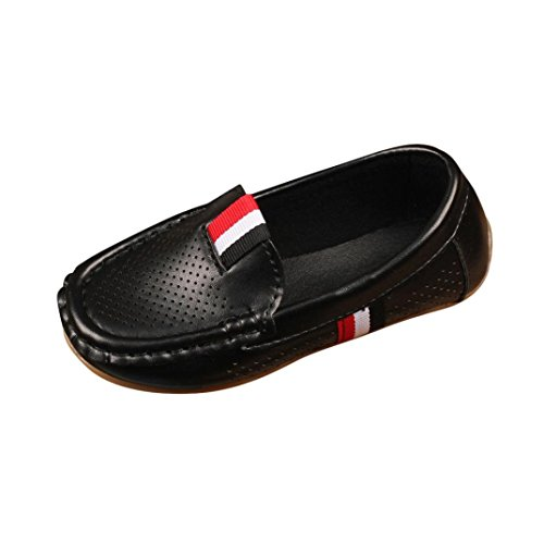 KONFA Teen Toddler Baby Girls Boys Slip Out Loafer Shoes,for 1-9 Years old,Children Anti-Slip Casual Leather Shoes (Black, 1-1.5 Year -