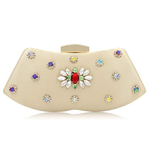 Inlay Pochette Flowers Premium Smilinggirl red Sera Donna Satin Brick Per Gold Matrimonio Borsa Strass Da Cheongsam dABwRBqX