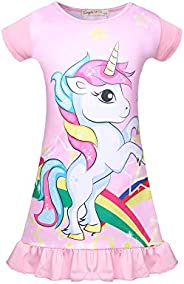 KISSI Nightgowns for Girls Unicorn Sleep Shirts Toddler Princess Pajamas Flutter Sleeve Nightdress Nightie 3-8