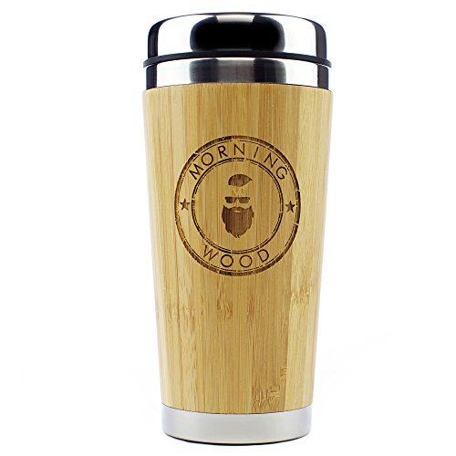 Mug Engraved Coffee - Morning Wood Premium Bamboo Travel Coffee Mug, Coffee Cup Thermos with QuickSeal Lid, Stainless Steel Insulated Tumbler 16oz.