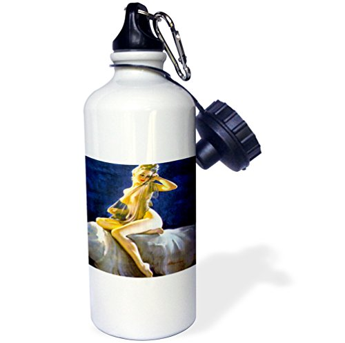 3dRose wb_204162_1 Print of Elvgren Pinup Sheer Nude Sports Water Bottle, Multicolored, 21 ()