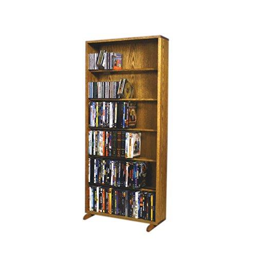UPC 888817270300, Cdracks Media Furniture Solid Oak 6 Row Dowel DVD Cabinet Tower Capacity 80 DVD's Honey Finish 615-24