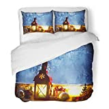 Emvency Bedding Duvet Cover Set Twin (1 Duvet Cover + 1 Pillowcase) Blue Interior Warm Lantern On Frozen Window with Candle and Christmas Cozy Setting Hotel Quality Wrinkle and Stain Resistant