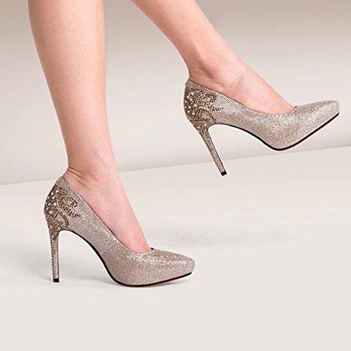 hauts Femmes Talons Or Confortable Stiletto CN39 Dîner taille Mariage De UK6 Talons NAN Pointu Printemps Chaussures Noir Argent Couleur Strass Or Noir Eté EU39 qgvxd0Cw