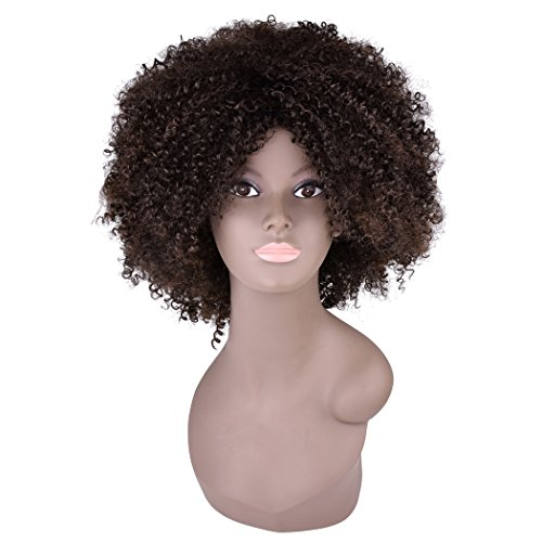 Miss Rola Synthetic Afro Curly Wig Soft Silk Kanekalon Fiber For Black Women Short Kinky Hair Natural Black Color 11 162g (4/30#)